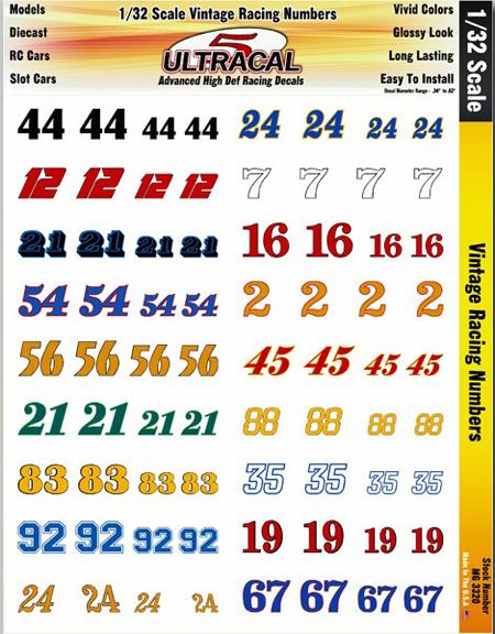 3320 132 scale vintage racing numbers 3320 1495