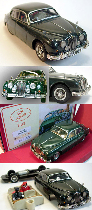 Slot classic CJ30 Jaguar MkII, green road car